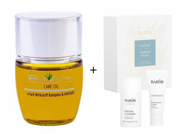 AloeVernis® BASIC aloe vera CARE OIL - Serum 30 ml - BABOR SKINOVAGE Set Enzyme Cleanser 20g + Moist