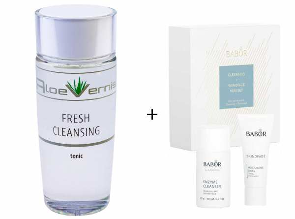 AloeVernis® BASIC aloe vera FRESH CLEANSING tonic 120 ml - BABOR SKINOVAGE Set Enzyme Cleanser 20g +