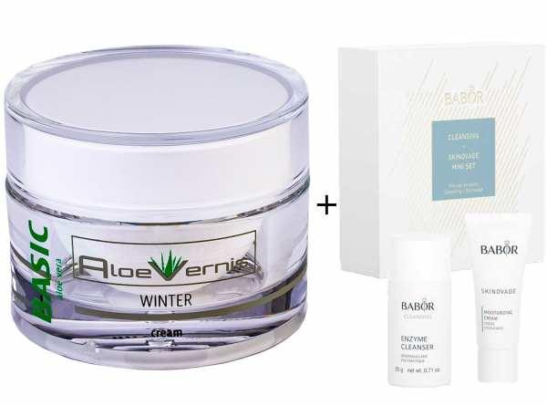 AloeVernis® BASIC aloe vera WINTER cream 50 ml - BABOR SKINOVAGE Set Enzyme Cleanser 20g + Moisture