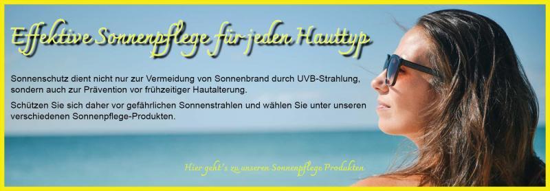 Sonnenpflege Produkte zum Schutz vor Sonnenbrand und vorzeitiger Hautalterung