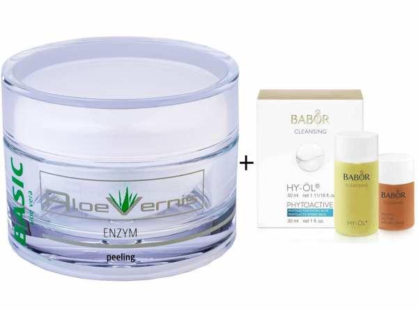 AloeVernis® BASIC aloe vera ENZYM peeling 100 ml - BABOR CLEANSING HY-ÖL 50 ml & Phytoactive Hydro B