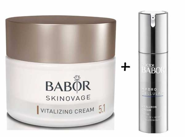 BABOR SKINOVAGE Vitalizing 50 ml + Hyaluron Cream 15 ml - für müde, fahle Haut zur Vitalisierung