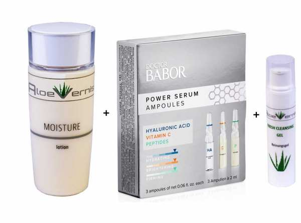AloeVernis® BASIC aloe vera MOISTURE lotion 120 ml - BABOR Power Serum Ampullen 3 Ampullen á 2 ml ve