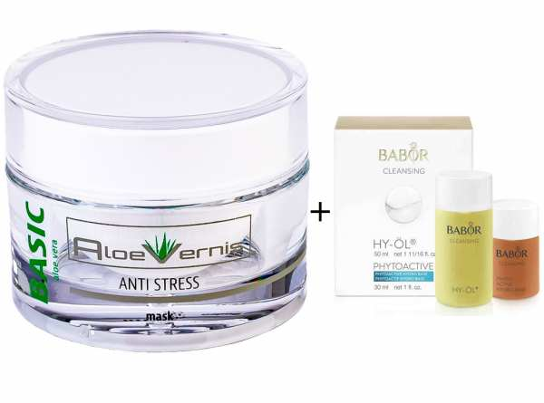 AloeVernis® BASIC aloe vera ANTI STRESS mask 50 ml - BABOR CLEANSING HY-ÖL 50 ml & Phytoactive Hydro