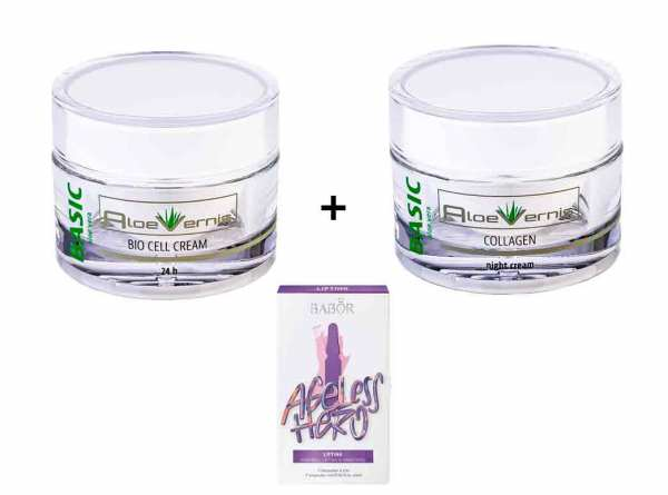AloeVernis® BASIC aloe vera Bio Cell Cream 50 ml + Collagen night cream 50 ml + GRATIS Babor Ampulle