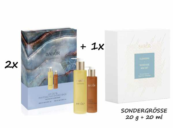 2x Set BABOR CLEANSING HY-ÖL 200 ml & Phytoactive Hydro Base 100 ml + BABOR Skinovage Set Enzyme Cle