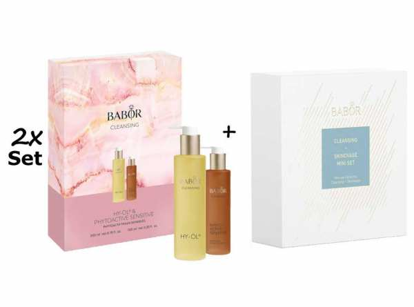 2x Set BABOR CLEANSING HY-ÖL 200 ml & Phytoactive Sensitive 100 ml + BABOR Skinovage Set Enzyme Cle
