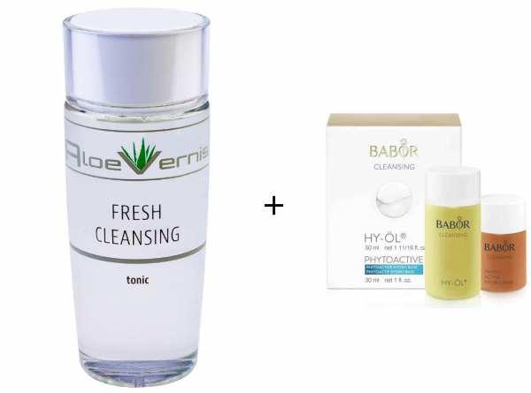 AloeVernis® BASIC aloe vera FRESH CLEANSING tonic 120 ml - BABOR CLEANSING HY-ÖL 50 ml & Phytoactive