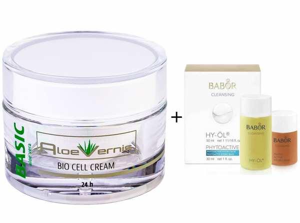 AloeVernis® BASIC aloe vera BIO CELL CREAM 24h 50 ml + BABOR CLEANSING HY-ÖL 50 ml & Phytoactive Hyd