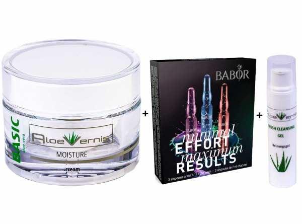 AloeVernis® BASIC aloe vera MOISTURE cream 50 ml - BABOR Beauty Effect 3 Ampullen á 2ml - durchfeuch