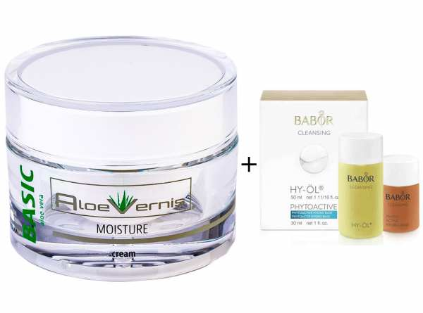 AloeVernis® BASIC aloe vera MOISTURE cream 50 ml + BABOR CLEANSING HY-ÖL 50 ml & Phytoactive Hydro B
