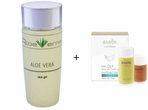 AloeVernis® BASIC aloe vera SKIN GEL 120 ml - BABOR CLEANSING HY-ÖL 50 ml & Phytoactive Hydro Base 3