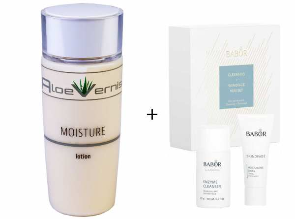 AloeVernis® BASIC aloe vera MOISTURE lotion 120 ml - BABOR SKINOVAGE Set Enzyme Cleanser 20g + Moist
