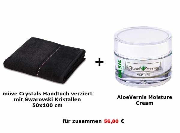 AloeVernis® BASIC aloe vera MOISTURE cream 50 ml + möve CRYSTALS Handtuch -original Swarovski Krista