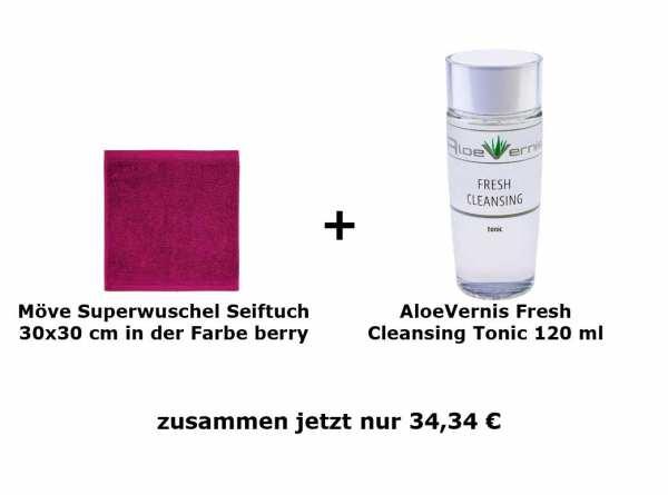 AloeVernis® BASIC aloe vera FRESH CLEANSING tonic + möve Superwuschel Seiftuch