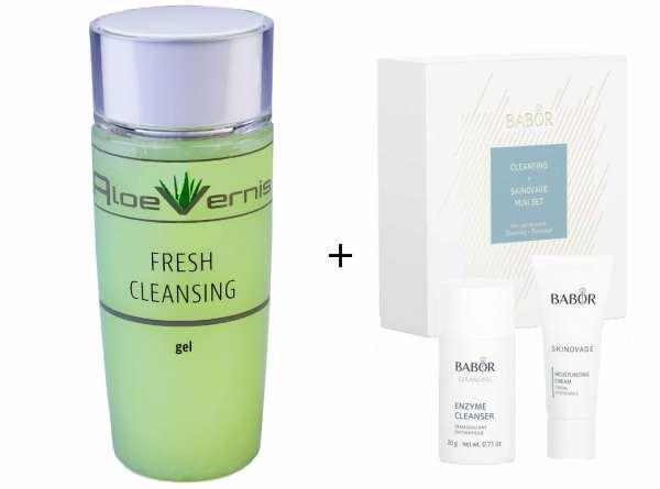 AloeVernis® BASIC aloe vera FRESH CLEANSING gel 120 ml - BABOR SKINOVAGE Set Enzyme Cleanser 20g + M