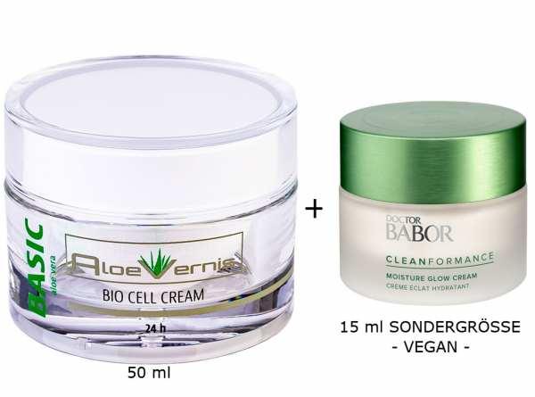 AloeVernis® BASIC aloe vera BIO CELL CREAM 24h 50 ml plus DOCTOR BABOR Cleanformance Moisture Glow D