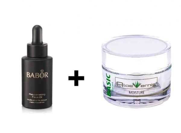 BABOR SKINOVAGE Rejuvenating Face Oil und AloeVernis® BASIC aloe vera MOISTURE cream
