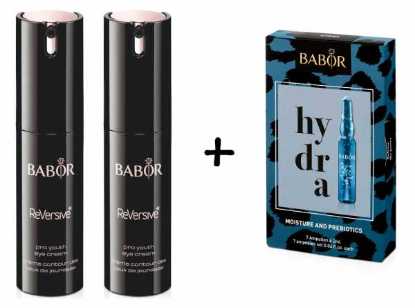 2 x BABOR ReVersive Pro Youth Eye Cream - BABOR AMPOULE CONCENTRATES hydra 7x 2ml