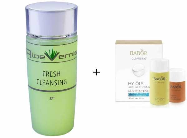 AloeVernis® BASIC aloe vera FRESH CLEANSING gel 120 ml - BABOR CLEANSING HY-ÖL 50 ml & Phytoactive H