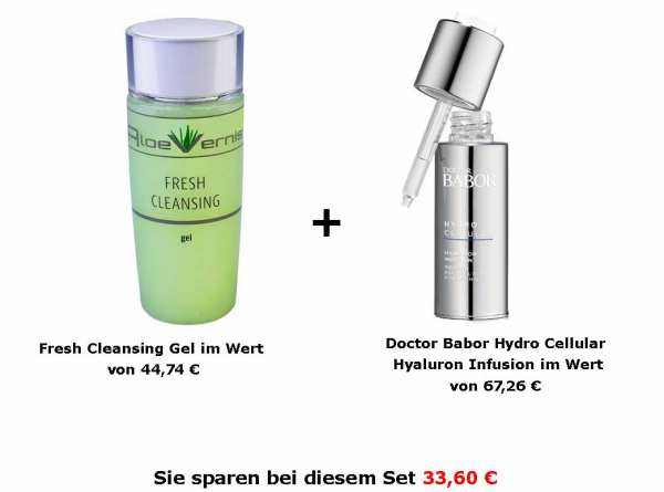 AloeVernis® BASIC aloe vera FRESH CLEANSING gel + DOCTOR BABOR HYDRO CELLULAR Hyaluron Infusion