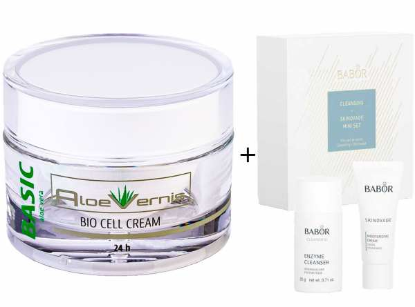 AloeVernis® BASIC aloe vera BIO CELL CREAM 24h 50 ml - BABOR SKINOVAGE Set Enzyme Cleanser 20g + Moi