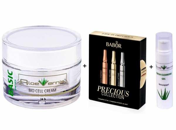 AloeVernis® BASIC aloe vera BIO CELL CREAM 24h 50 ml - BABOR Precious Collection 3 Ampullen á 2 ml