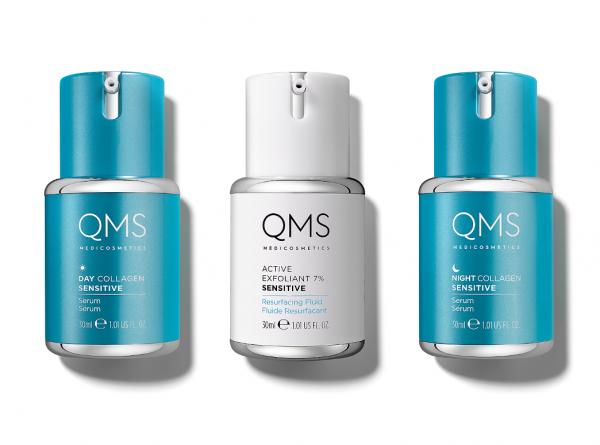 QMS MEDICOSMETICS 3 STEP COLLAGEN SET SENSITIVE 3x 30 ml Day, Night Serum + Active Exfoliant 7 %