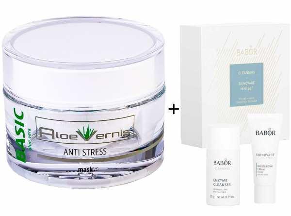 AloeVernis® BASIC aloe vera ANTI STRESS mask 50 ml - BABOR SKINOVAGE Set Enzyme Cleanser 20g + Moist