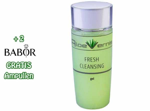 AloeVernis® BASIC aloe vera FRESH CLEANSING gel 120 ml - Hyaluron, Collagen, Arganöl + 2 GRATIS Ampu